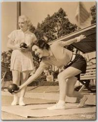 Maureen and Ruth Channing reviving the ancient game of Bowling on the Green.