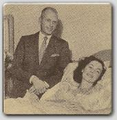 John Farrow visits Maureen after an appendectomy operation.